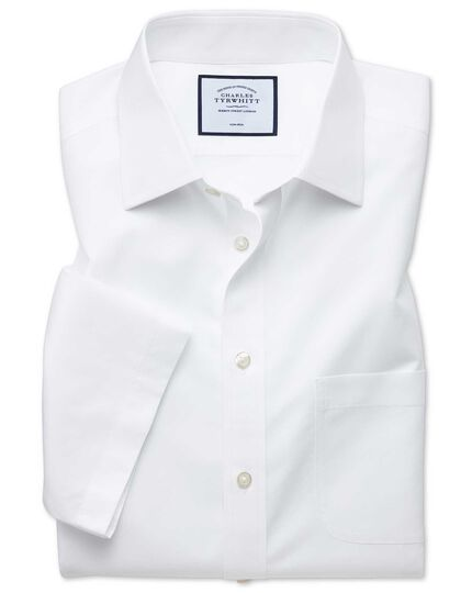 Classic fit non-iron white natural cool short sleeve shirt