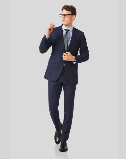 Birdseye Peak Lapel Travel Suit - Ink Blue