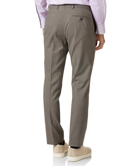 Natural puppytooth slim fit Panama business suit trousers