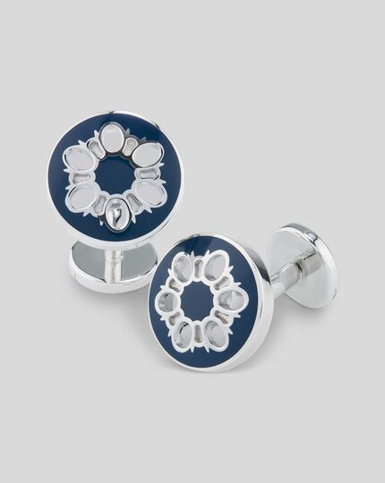Enamel Cut Out Floral Design Cufflinks - Navy