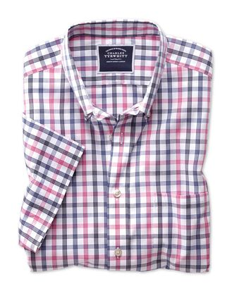 Slim fit non-iron pink large check short sleeve shirt