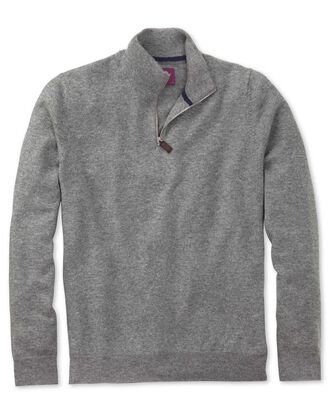 Silver cashmere zip neck jumper