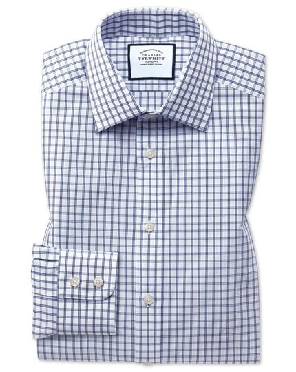 Extra Slim Fit Hemd mit Windowpane-Karos in Blau