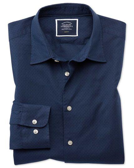 Chemise bleu foncé slim fit légèrement texturée à pois