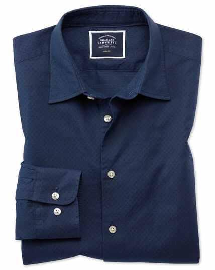 Slim Fit Hemd mit weicher Struktur und Punkten in Dunkelblau