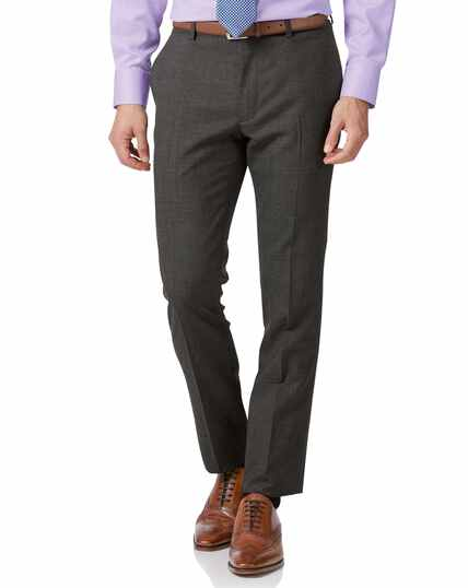 Grey extra slim fit merino business suit trousers