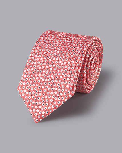 Krawatte aus Seide mit Blumenmuster - Korallenrot