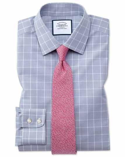 Chemise Prince de Galles grise slim fit sans repassage