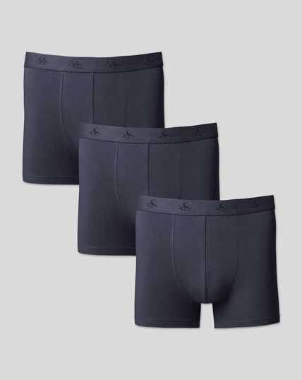 3 Pack Cotton Stretch Jersey Trunks - Navy