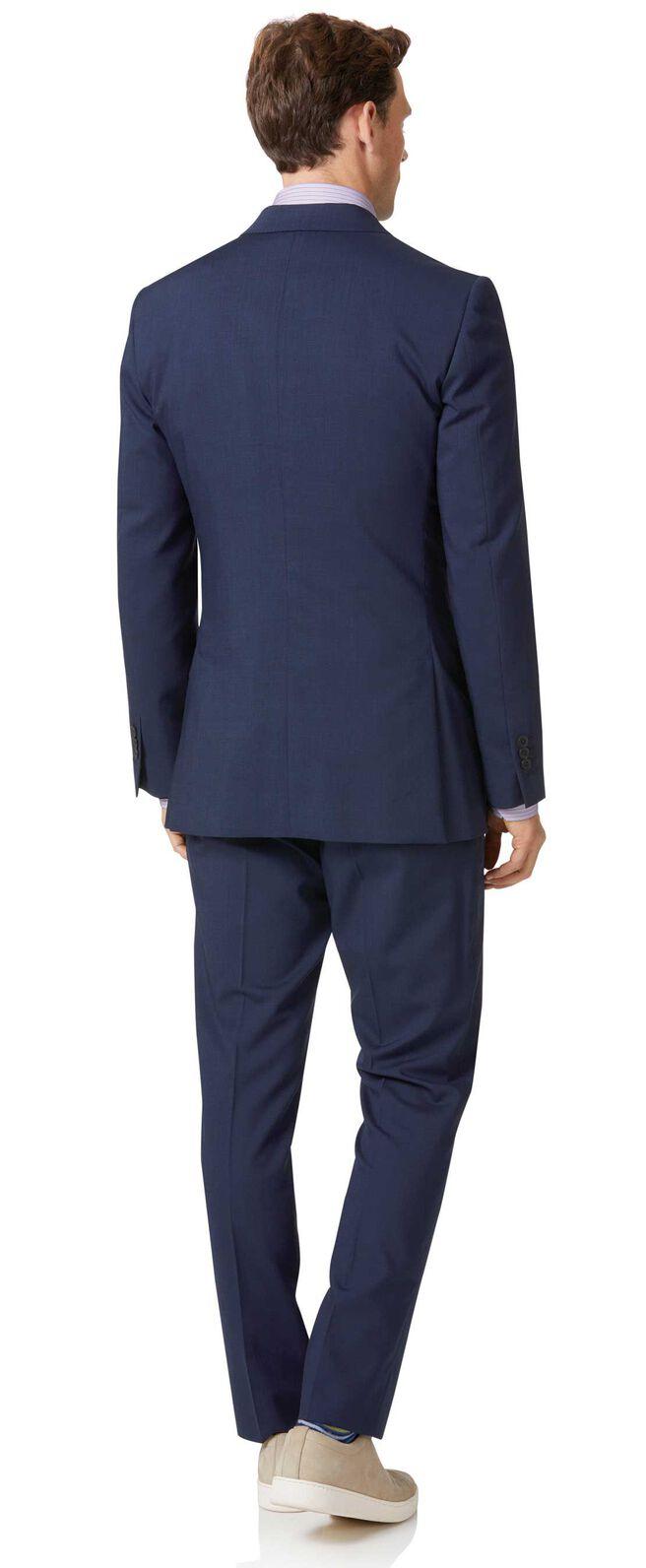 Costume bleu marine slim fit à tissage échelle