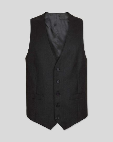 Birdseye Half Canvas Suit Waistcoat - Charcoal