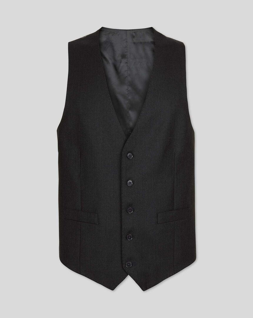 Birdseye Travel Suit Vest - Charcoal