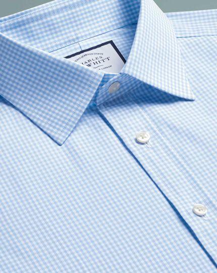 Slim fit sky blue small gingham shirt
