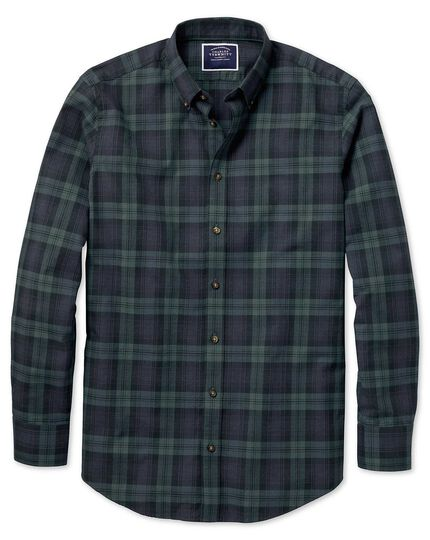 Classic fit navy and green check herringbone melange shirt