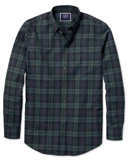 Extra slim fit navy and green check herringbone melange shirt