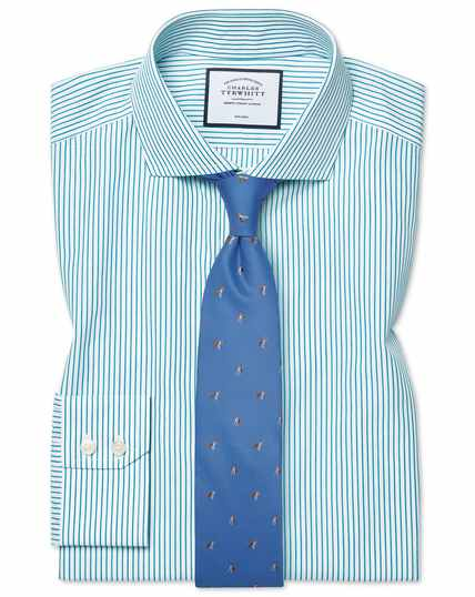 Extra slim fit cutaway collar non-iron stripe green shirt