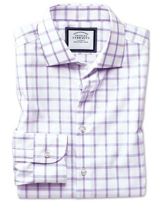 Classic fit semi-cutaway non-iron business casual purple check shirt