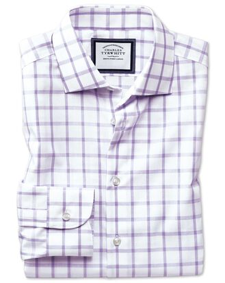 Slim fit semi-cutaway non-iron business casual purple check shirt