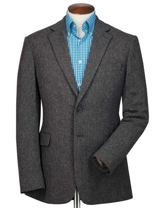 Slim fit charcoal herringbone wool jacket