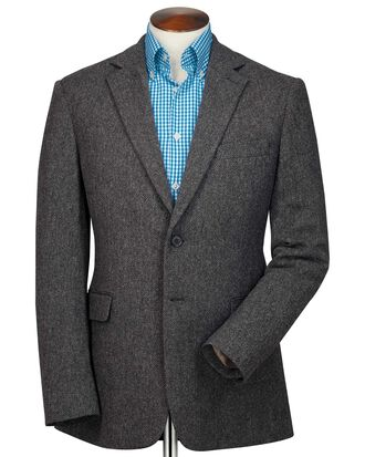 Classic fit charcoal herringbone wool jacket