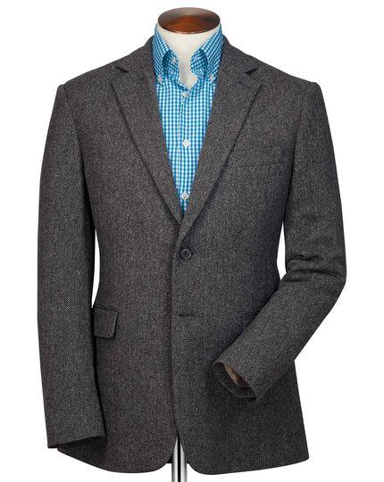 Classic fit charcoal herringbone wool jacket