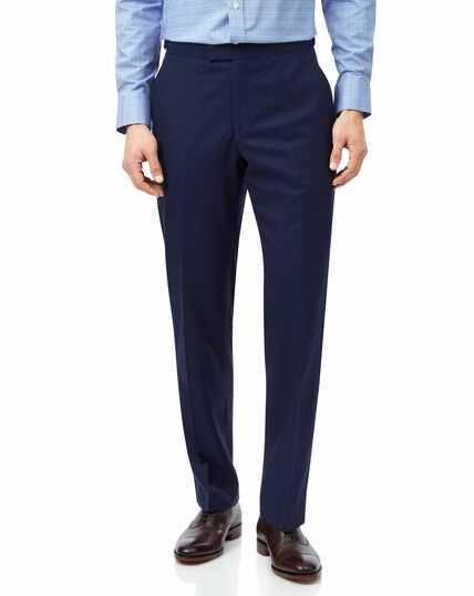 Blue classic fit British luxury suit trousers
