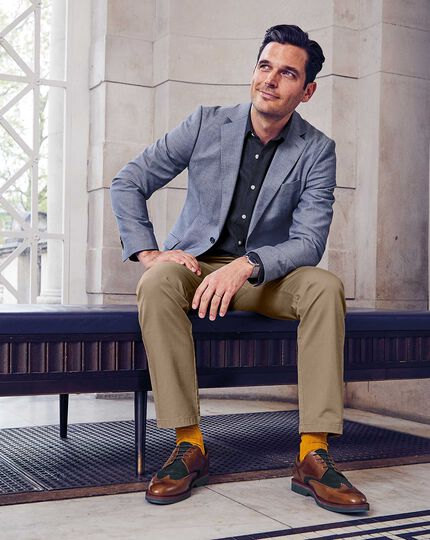 Tan and Navy extra lightweight Derby wing tip shoes