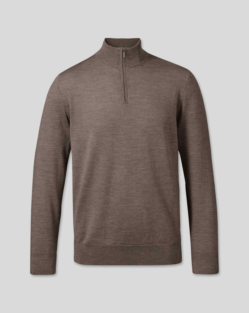 Merino Zip Neck Jumper - Mocha