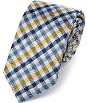 Klassische Krawatte aus Seide mit Blockkaros in Blau und Gelb