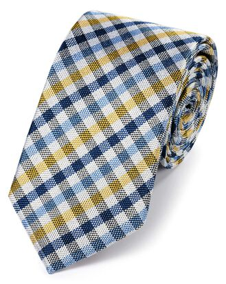 Blue and yellow silk block check classic tie