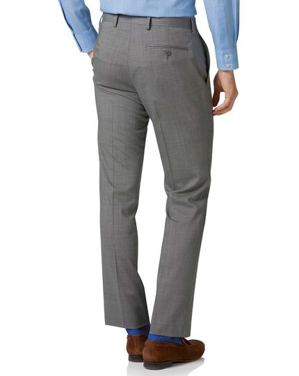 Silver slim fit step weave suit trousers