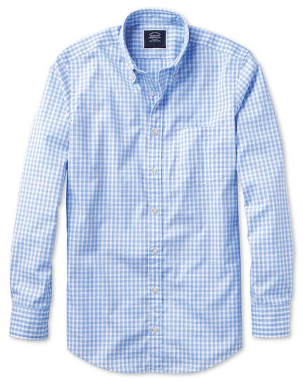 Slim fit sky blue gingham soft washed non-iron Tyrwhitt Cool shirt