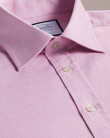 Classic Fit Hemd aus ägyptischer Baumwolle mit Panamabindung in Magenta