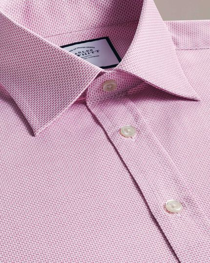 Slim fit magenta cube weave Egyptian cotton shirt