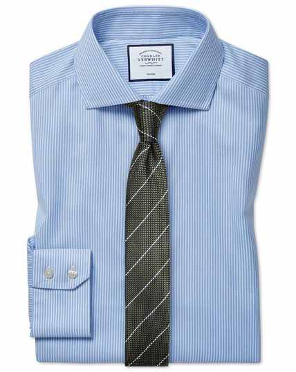 Slim fit cutaway collar non-iron cotton stretch Oxford sky blue stripe shirt