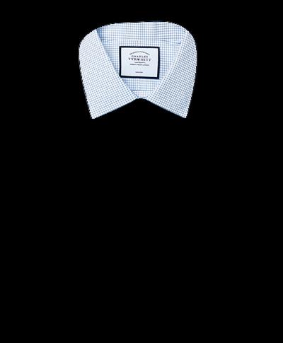Chemise bleu ciel en twill coupe droite sans repassage à petits carreaux simples