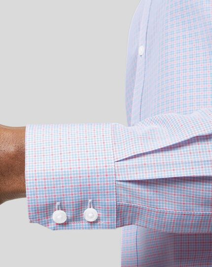 Classic Collar Non-Iron Poplin Check Shirt - Sky & Red