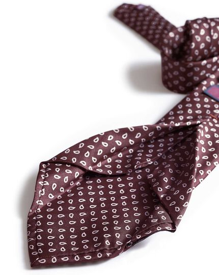 Burgundy silk English luxury tie