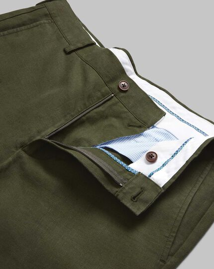 Easy Care Linen Pants - Dark Green