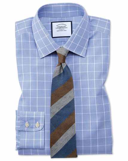 Bügelfreies Classic Fit Hemd mit Prince-of-Wales-Karos in Mittelblau