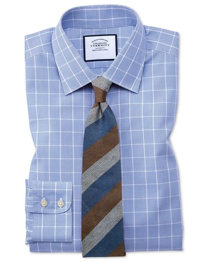 Classic fit non-iron Prince of Wales mid blue shirt
