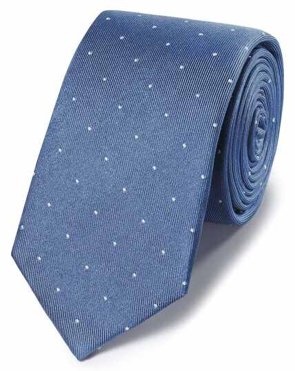 Blue and white spot slim tie