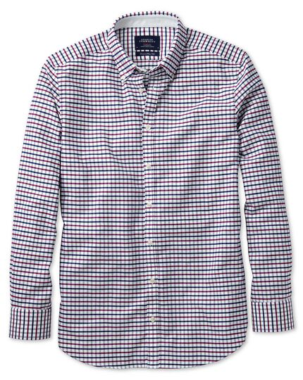 Extra slim fit navy and berry tattersall washed Oxford shirt
