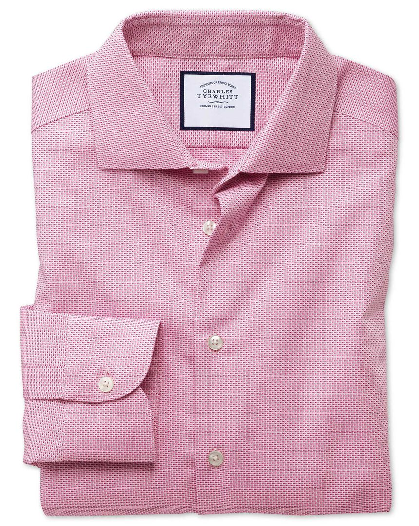 Extra slim fit business casual non-iron modern textures pink dash shirt
