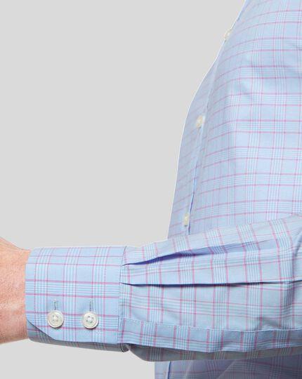 Cutaway Collar Non-Iron Prince of Wales Check Shirt - Blue & Pink
