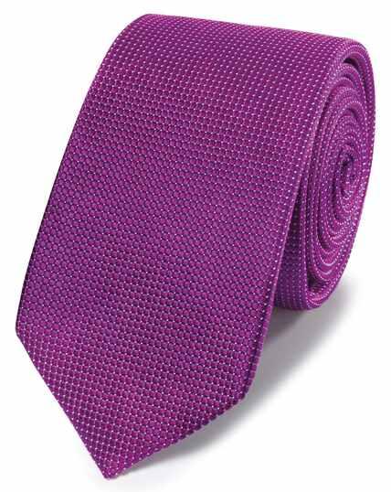 Cravate slim magenta à micro pois