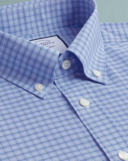 Chemise bleu ciel coupe droite à col boutonné et carreaux simples sans repassage