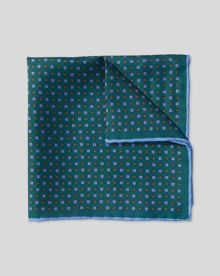 Mini Geometic Print Pocket Square - Green & Sky