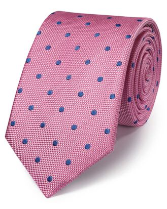 Pink and blue silk spot classic tie