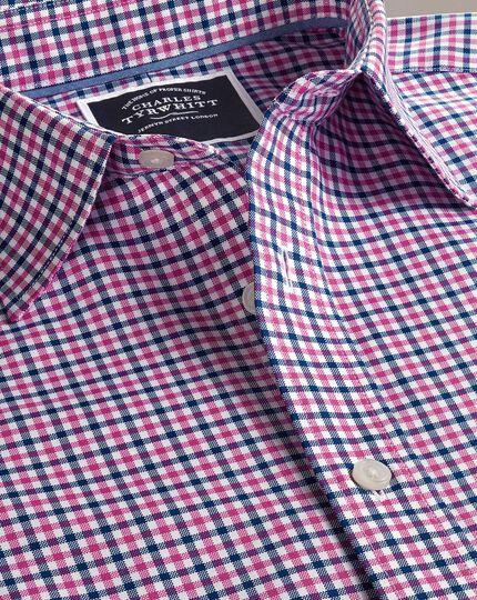 Bügelfreies Slim Fit Oxfordhemd mit Gingham-Karos in Rosa und Marineblau